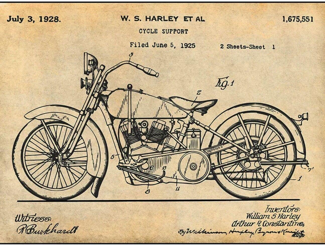 eb59abad 1928 Harley Davidson Patent #patentartgifts | Vintage Blueprints ...