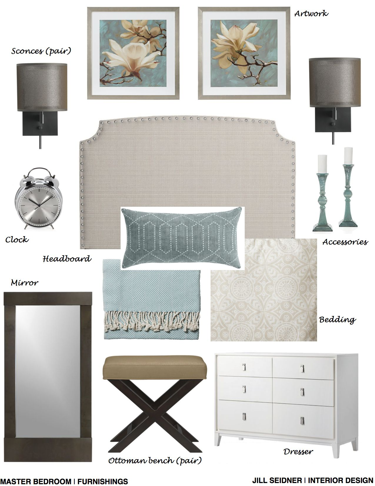 Long Beach Ca Online Design Project Master Bedroom Furnishings Concept Board Interior Design Bedroom Interior Design Boards Interior Design