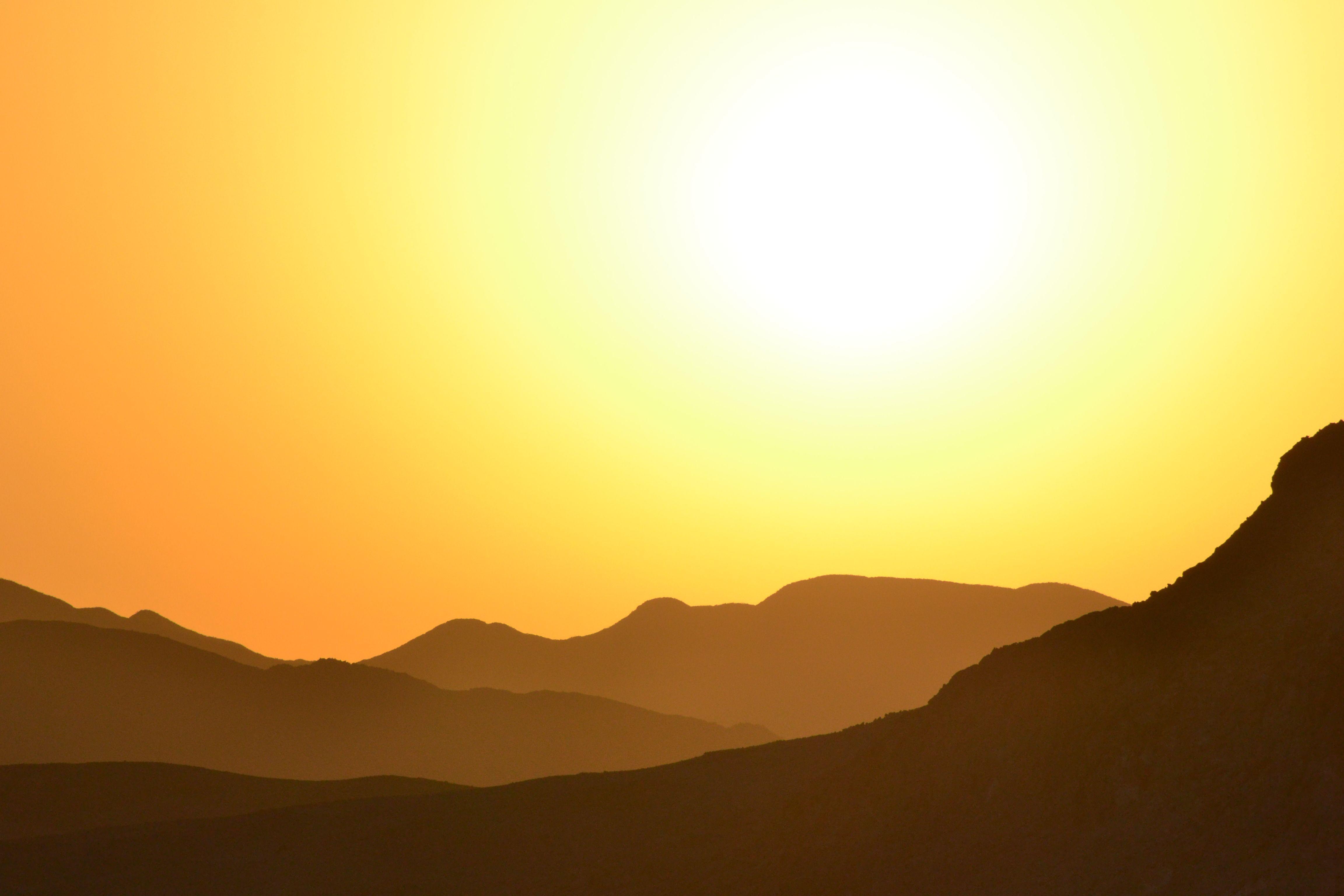 Sunset in the Egyptian desert.