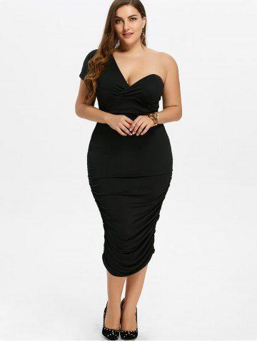 Beden Elbise Modelleri Siyah Kalem Etek Boyu Tek Omuz Açık