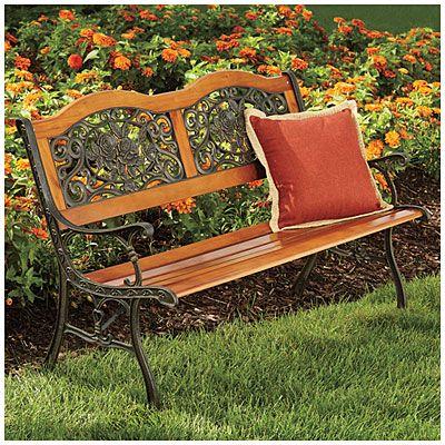 Wilson Fisher Rose Design Wood Slat Park Bench Wood Design