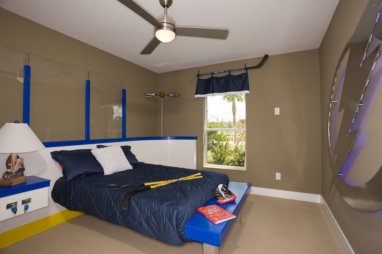 A Tampa Bay Lightning Themed Bedroom Perfect For Any Hockey Fan Cardel Homes Cortina At Fishhawk Ranch