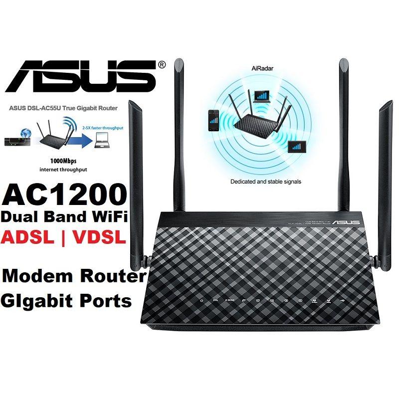 Asus Dslac55u Ac1200 Dual Band Wifi Gigabit Adsl Modem Router
