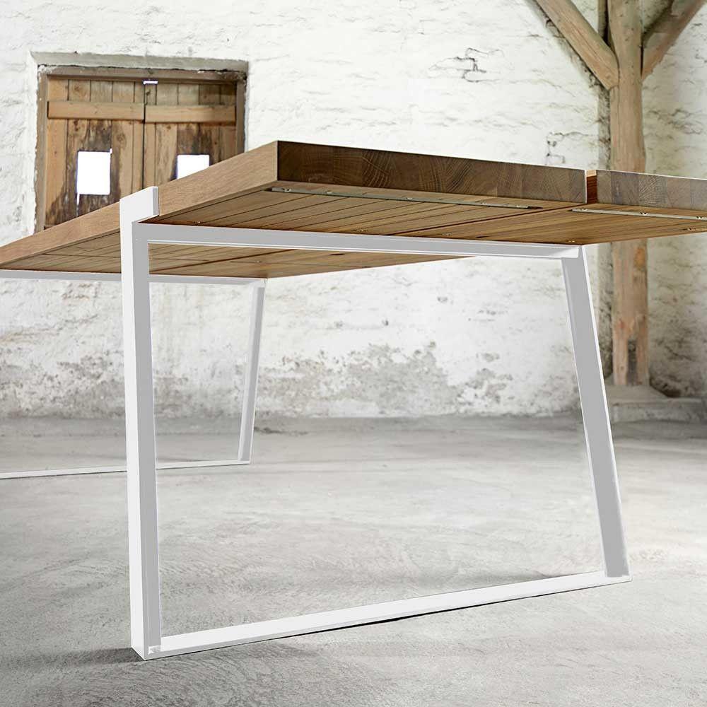 esstisch eiche tischplatte wei e tischbeine tisch massiv eiche metall wei ma e 240 x 100 cm. Black Bedroom Furniture Sets. Home Design Ideas