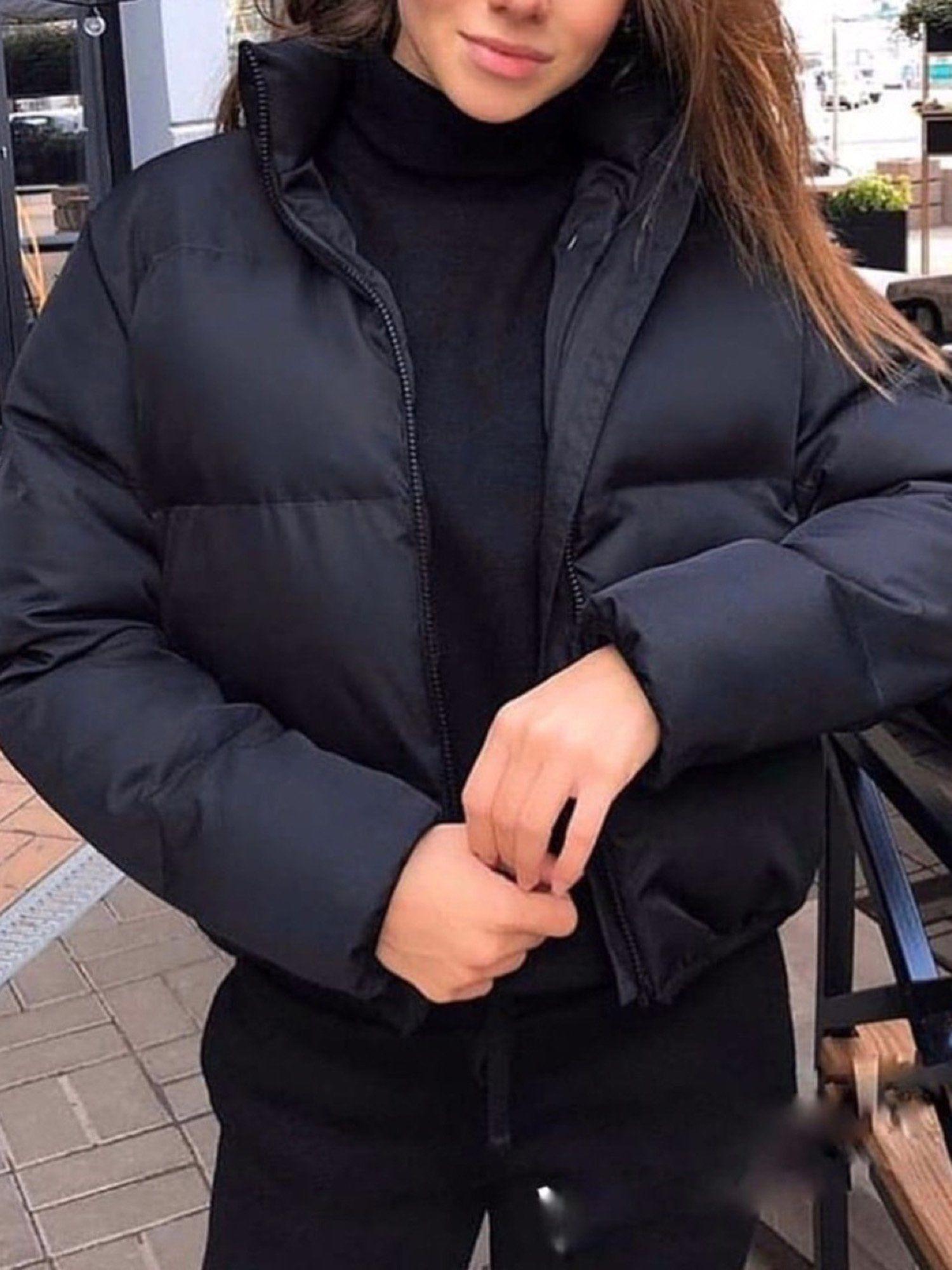 Stand Up Puffer Short Jacket Winter Jacket Outfits Winter Outfits Puffer Jacket Women [ 2000 x 1500 Pixel ]