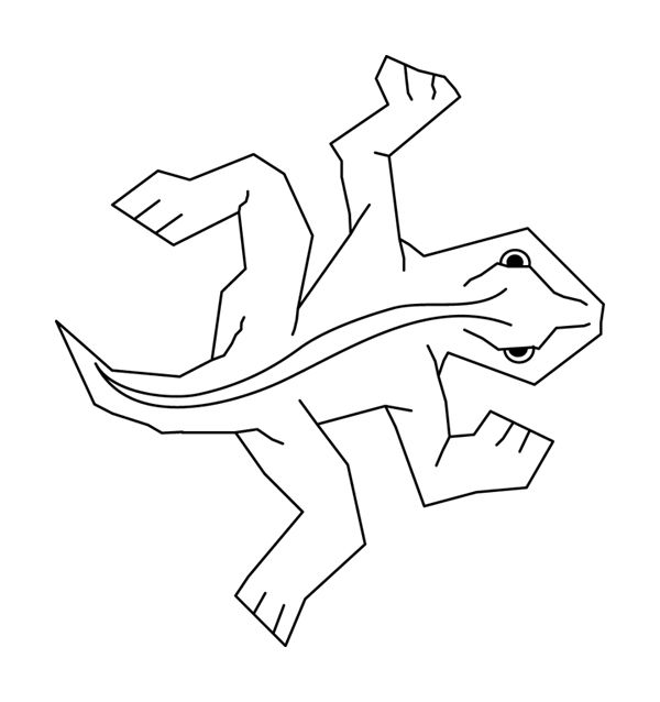 simple black on white line art of eschers famous lizard tesselation from my