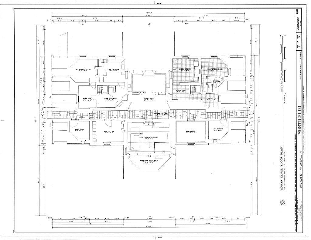Lower Level Thomas Jefferson Monticello Charlottesville Va Habs Va 2 Char V 1 Sheet 02 Thomas Jefferson Home Architecture Blueprints Basement Plans