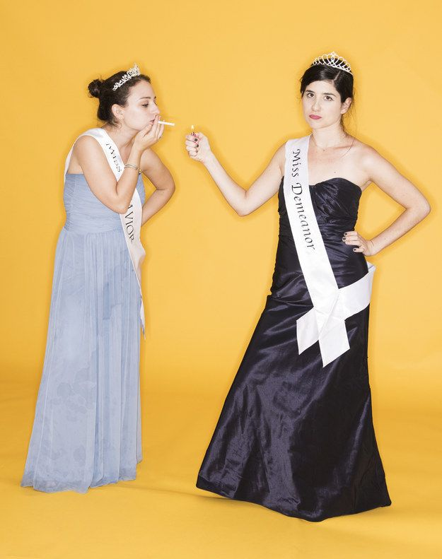 Miss Demeanor and Miss Behavior | 5 Easy Halloween Costumes You Can Make From An Old Bridesmaid Dress