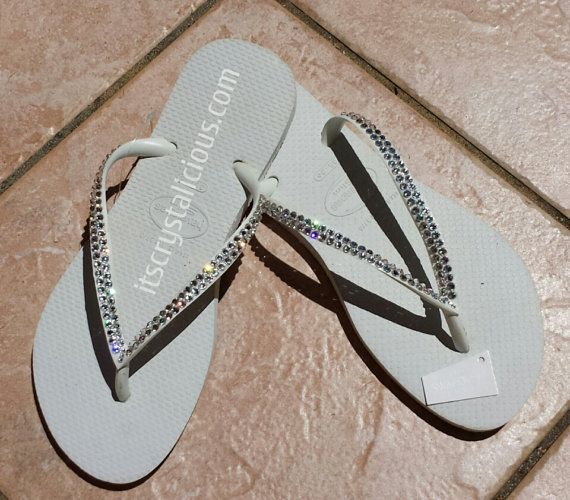 725323d58ca06 White Havaianas Covered In SWAROVSKI Crystal Bling Flip Flops ...