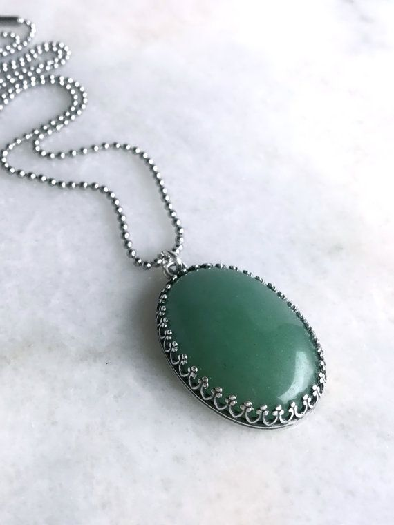 Aventurine Pendant Green aventurine pendant oval green stone necklace long silver green aventurine pendant large gemstone necklace oval green stone jewelry long silver ball audiocablefo