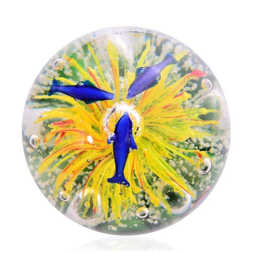 Mouth Blown Glow in the Dark White Glass Sea View Yellow Jellyfish Paperweight (Size 11x10 Cm)