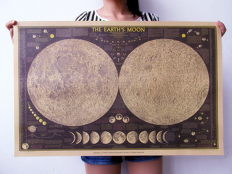 Pas cher national geographic version la carte de la lune vintage