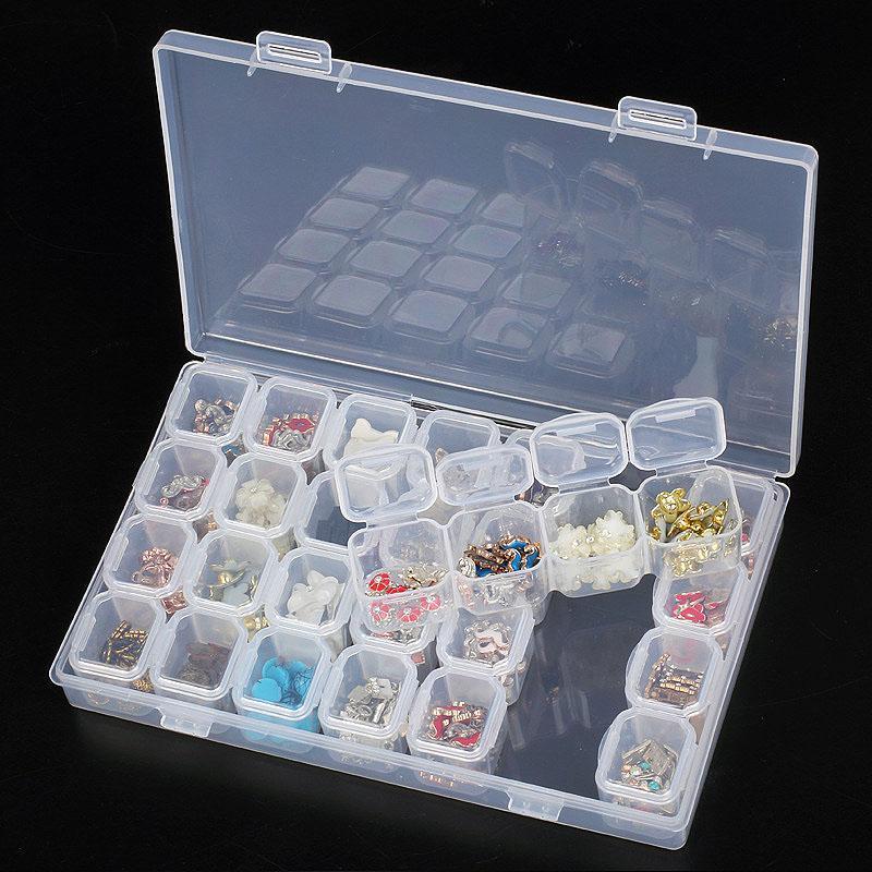 28-Slots Plastic Adjustable Nail Art Storage Box Jewelry Beads Organizer Case