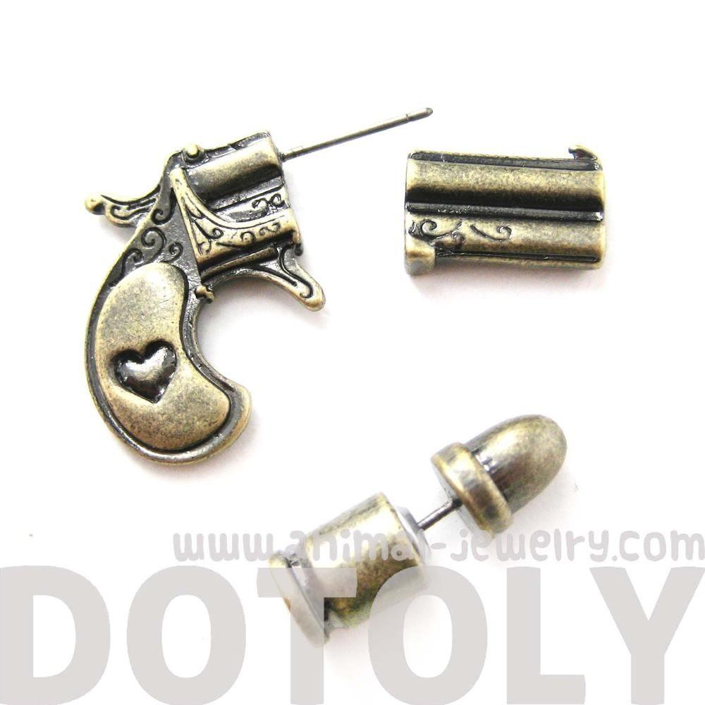 e60c25c95 fake-gauge-earrings-gun-pistol-and-bullet-shaped-faux-plug-stud-earrings -in-brass