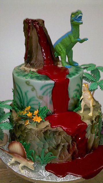 Dinosaur Volcano Cake Parties In 2019 Dinosaur Cake