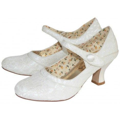 esta by the perfect bridal shoe company ivory vintage lace mary jane wedding or occasion shoes