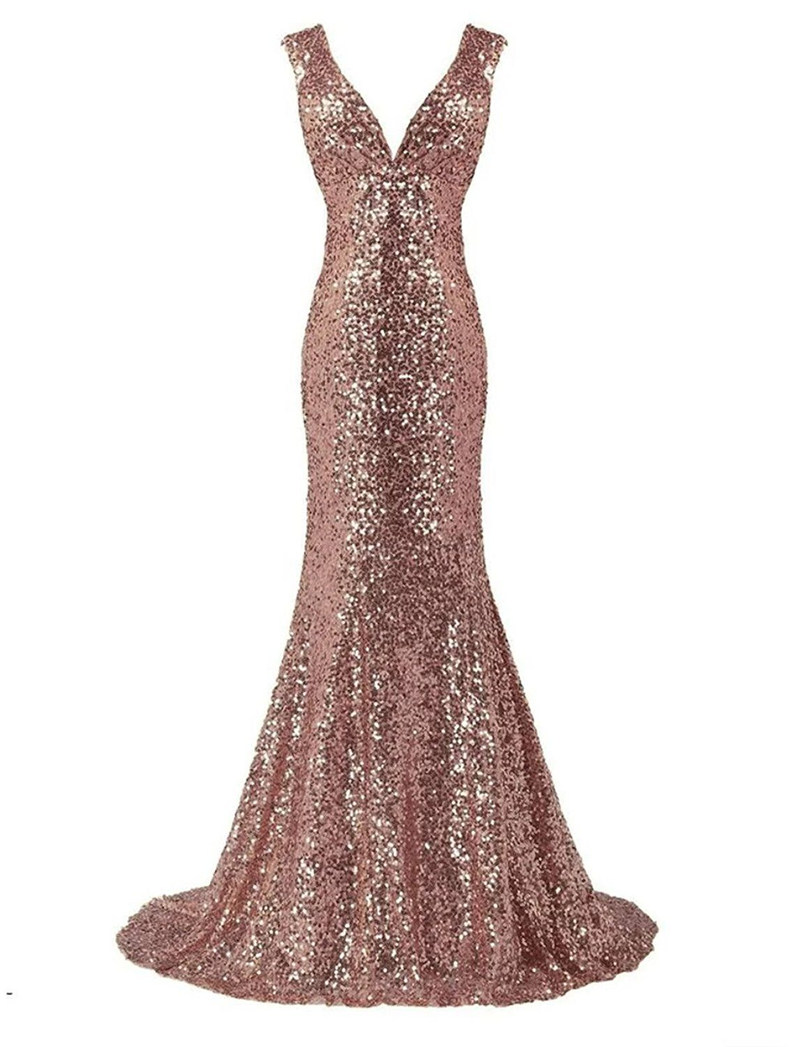LanierWedding Gold Sequins Mermaid V neck Bridesmaid Dresses Plus ...