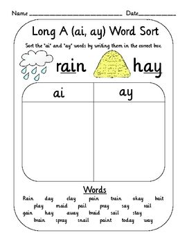 Worksheets Ai Ay Worksheets 1000 images about phonics vowel digraphs on pinterest long vowels student and ice cube trays