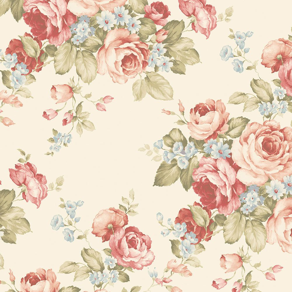 Norwall Wallcoverings Ab27614 Abby Rose 3 Grand Floral Wallpaper