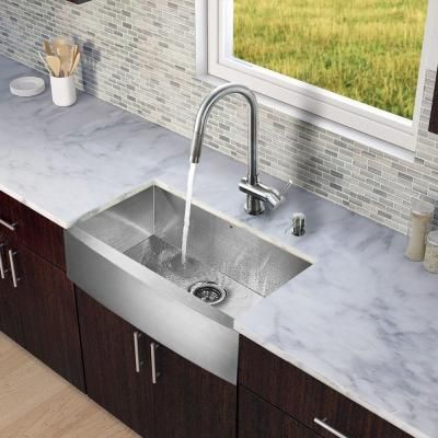 Vigo All In One Farmhouse A Front Stainless Steel 33 Single Bowl Kitchen Sink Vg15127 The Home Depot