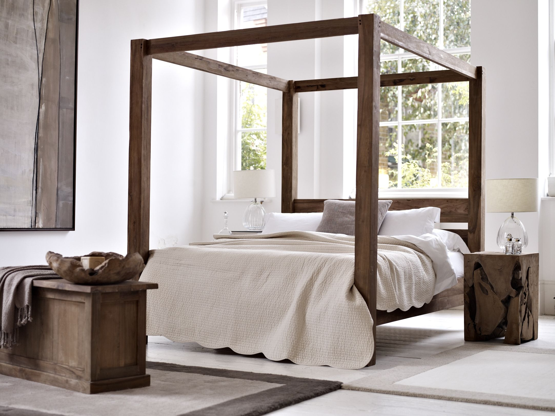 Reclaimed Teak Four Poster Bed In Natural Teak With Teak Root