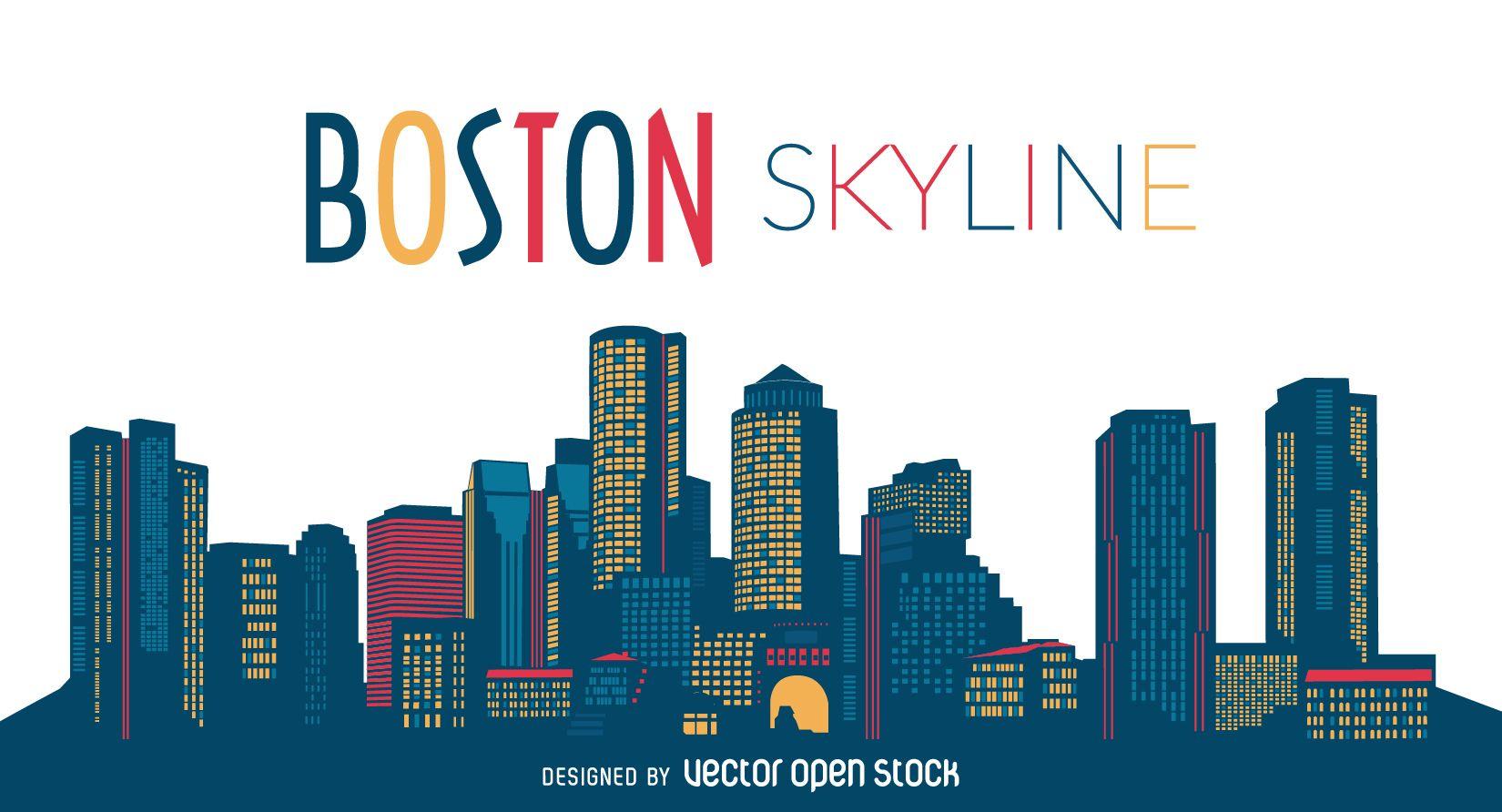 Boston City Skyline Free Vector City Skyline Boston Skyline Silhouette Boston Skyline