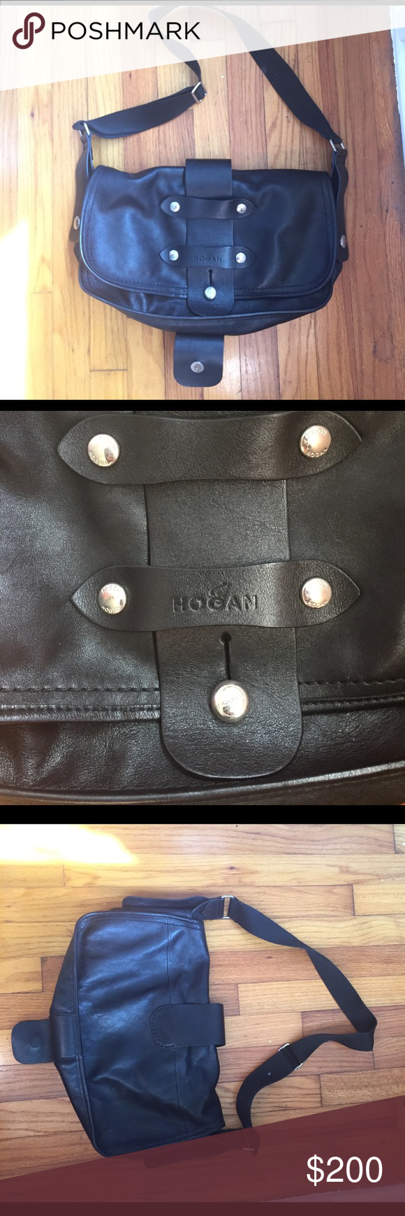 Hogan shoulder bag Hogan brand black leather shoulder bag. Made in Italy. Bag is in great condition. Has minor wear on the metal magnet closing piece as indicated in the photo. Timeless bag that looks great with anything! Has an inside pocket and an adjustable strap. Hogan Bags Shoulder Bags