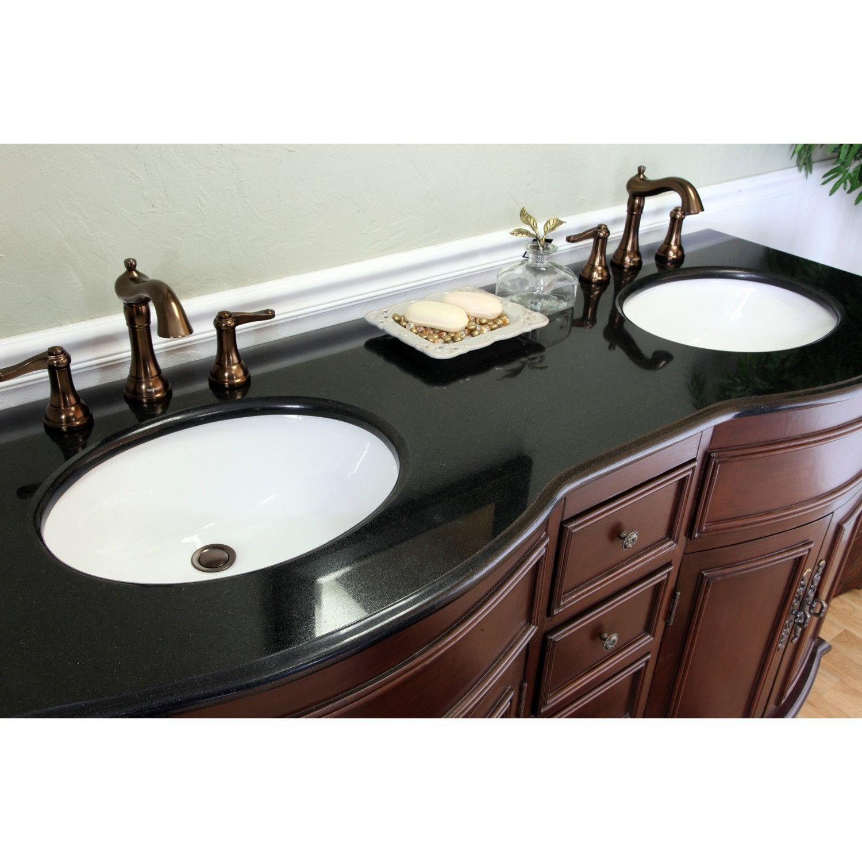 Bellaterra Home 62 Colonial Cherry Double Sink Vanity Set Granite