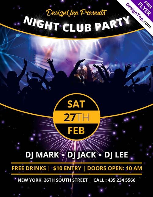 Nightclub Party Free Psd Flyer Template  Nightclub Ideas