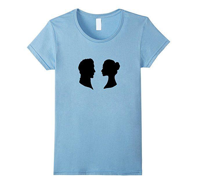 Amazon.com: Darcy and Elizabeth Vintage Silhouette Jane Austen T Shirt: Clothing
