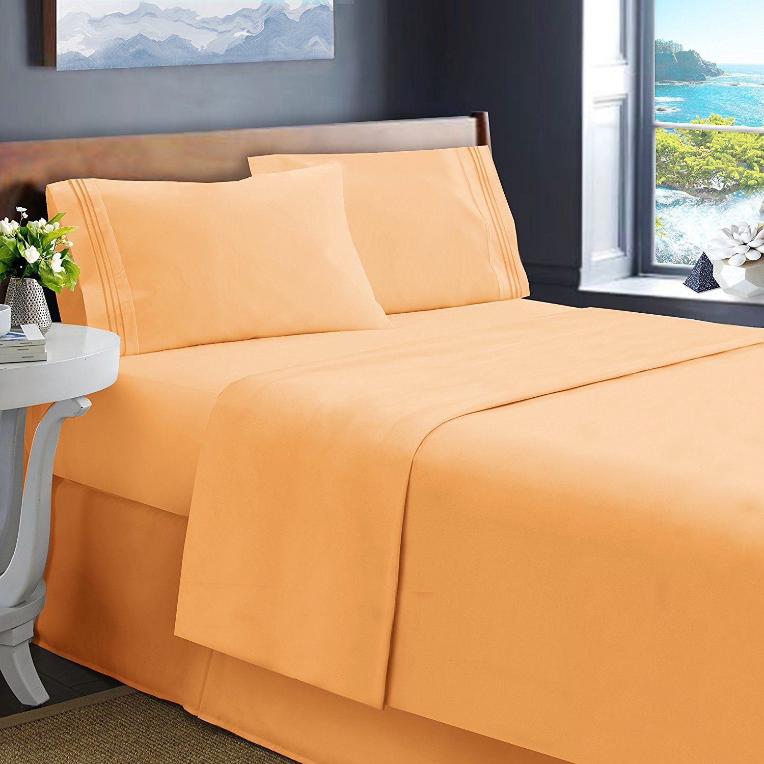 Hearth U0026 Harbor King Size Bed Sheets, Apricot Orange   Soft Luxury Best  Quality 4