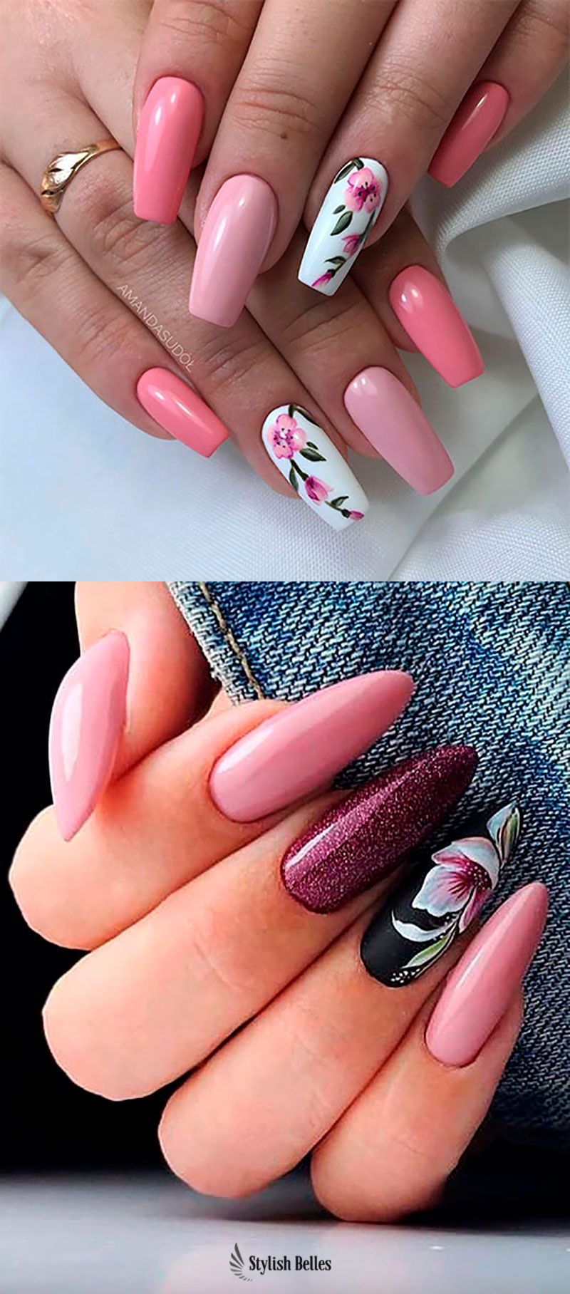 Cute Coffin And Almond Floral Nails Ideas In 2020 Kwieciste