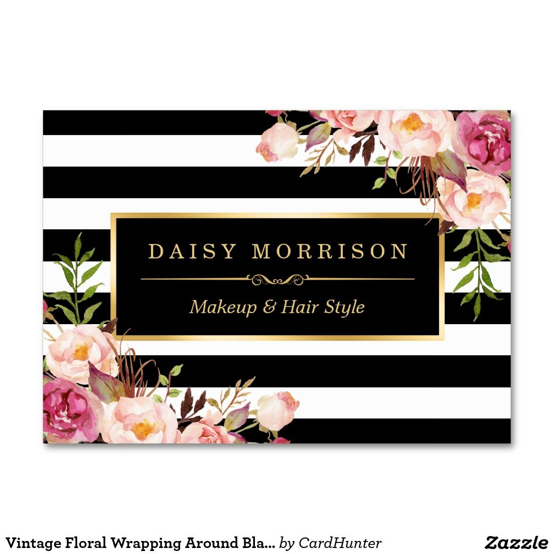 Vintage Floral Wrapping Around Black White Stripes Large Business ...