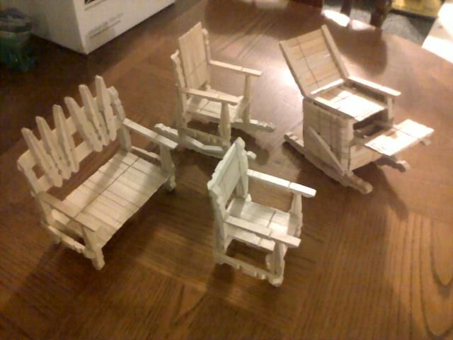 Creative wooden clothes pin craft craft ideas for Small wooden rocking chair for crafts