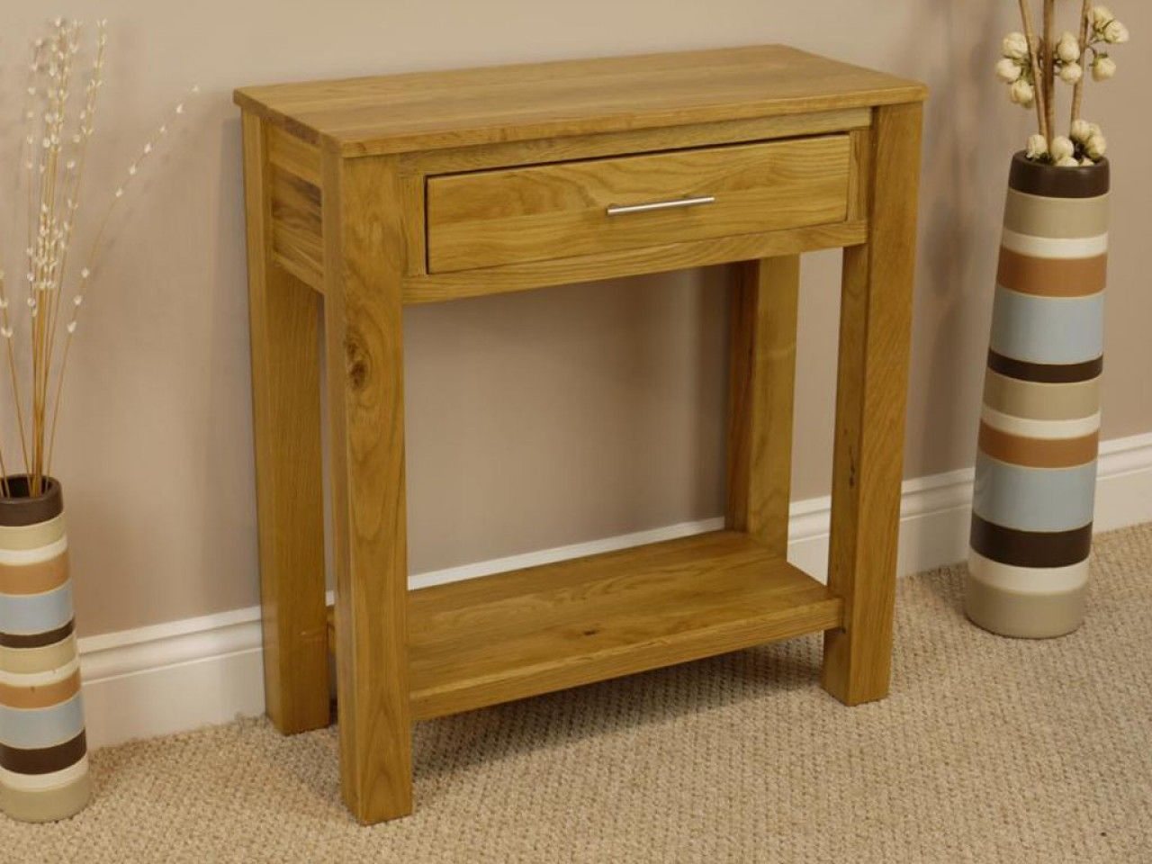 End of hallway storage  Solid Oakland Chunky Oak  Drawer Hallway Console Table  Guest room