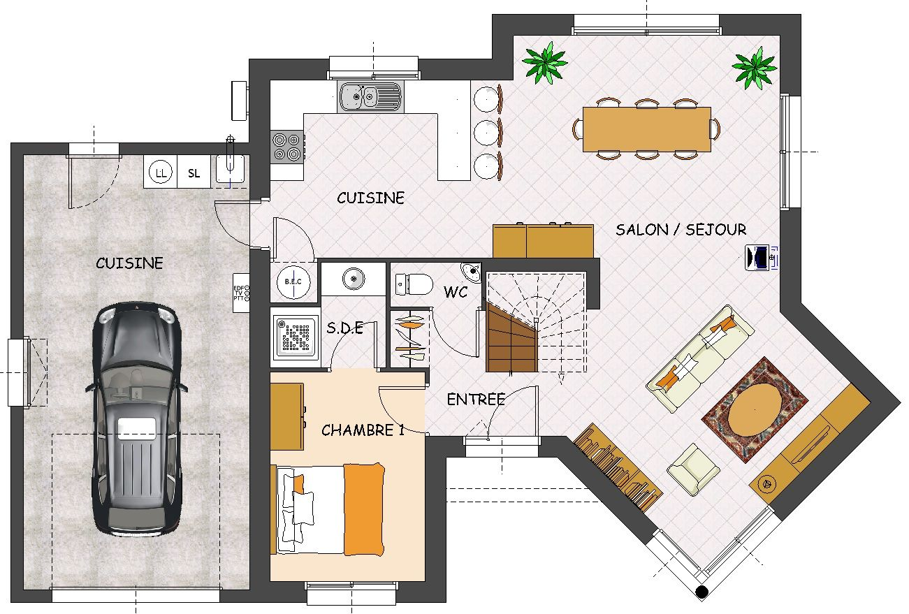 Plan de maison contemporaine 4 chambres avec garage colins pinterest construction weekend for Maison avec plan