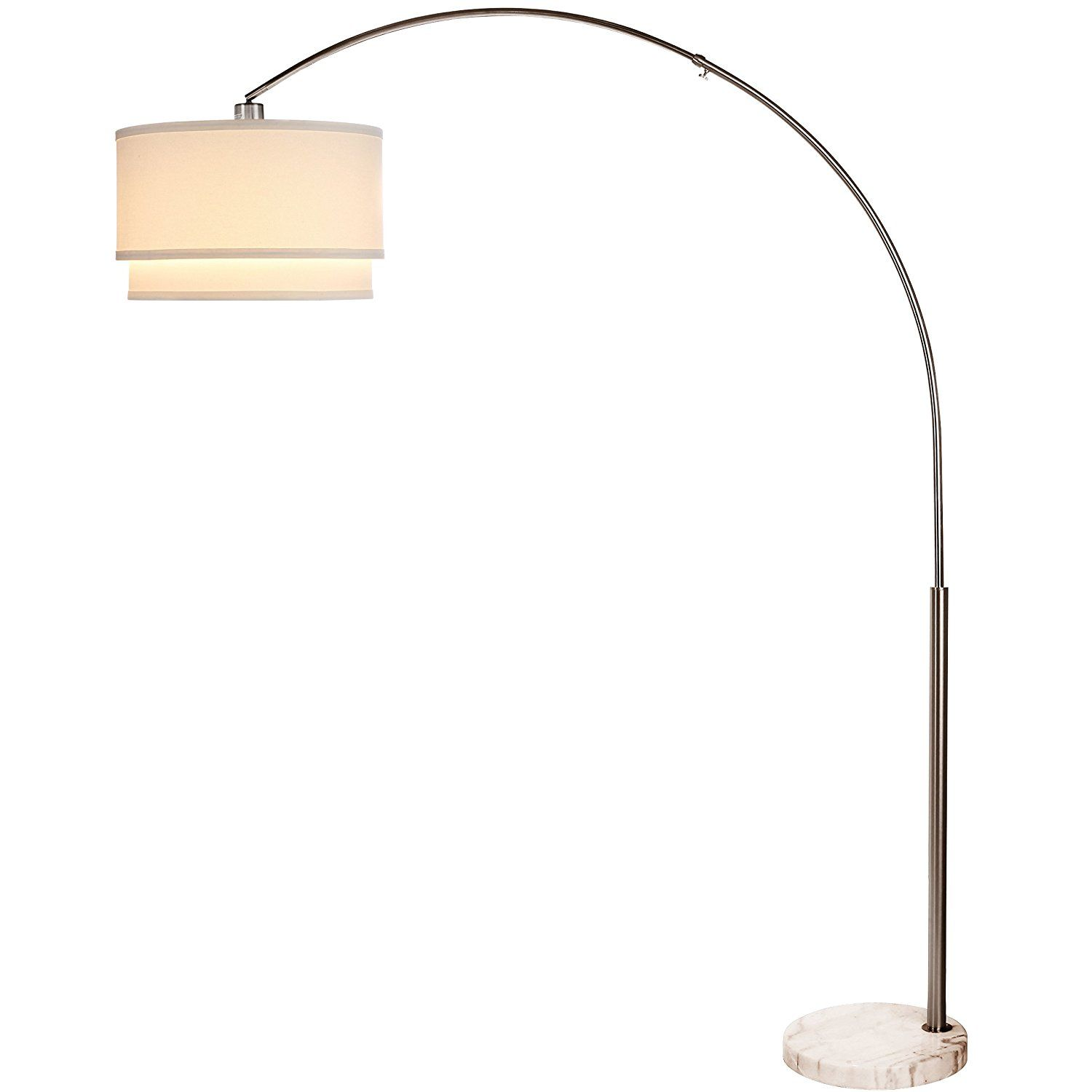 Modern Tall Standing LED Arc Floor Lamp with Marble Base Brightech Mason