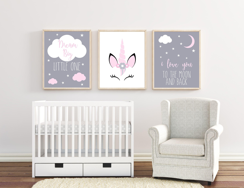 Girl Baby Wall Art Unicorn Bedroom Decor Unicorn Nursery | Etsy | Baby Room Wall Art, Unicorn Nursery Art, Pink Grey Nursery Decor