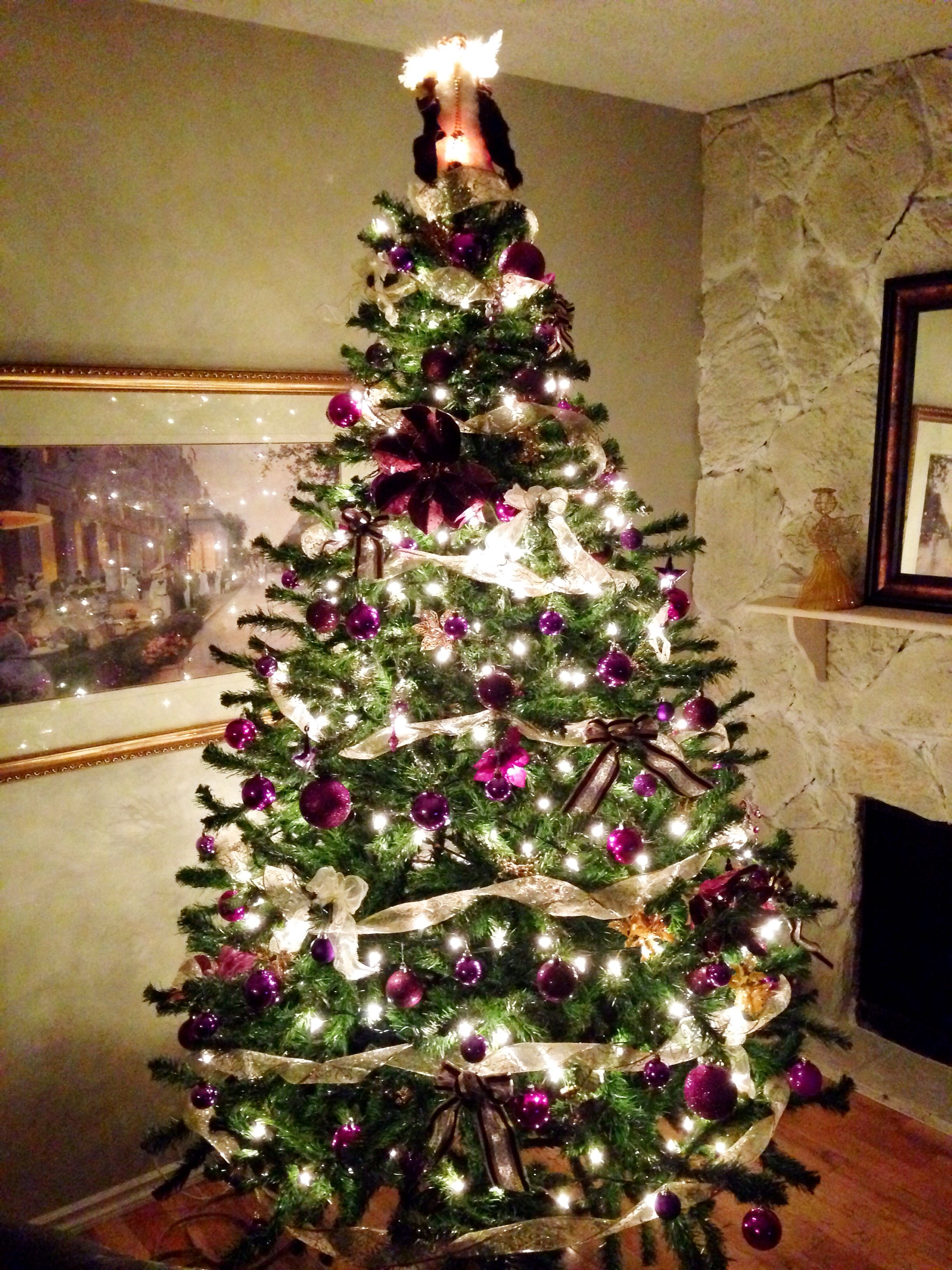 The Family Christmas Tree Purple White And Gold Decorations Our Attempt At Designer Decor Gold Christmas Tree Gold Christmas Silver Christmas Decorations