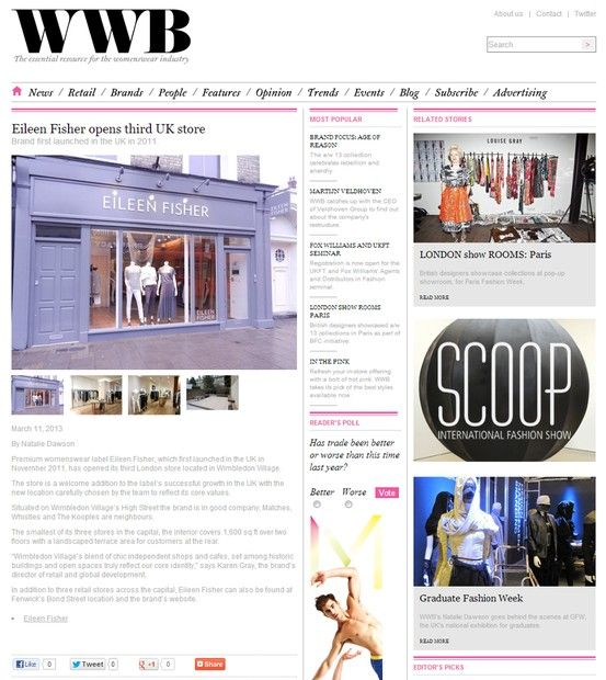 The new EILEEN FISHER store opening in Wimbledon Village has been featured on WWB Online.