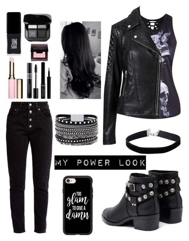 """My Power Look"" by nekonerdforever ❤ liked on Polyvore featuring Witchery, Balenciaga, Senso, Casetify, White House Black Market, Miss Selfridge, JINsoon, Clarins, Christian Dior and Giorgio Armani"