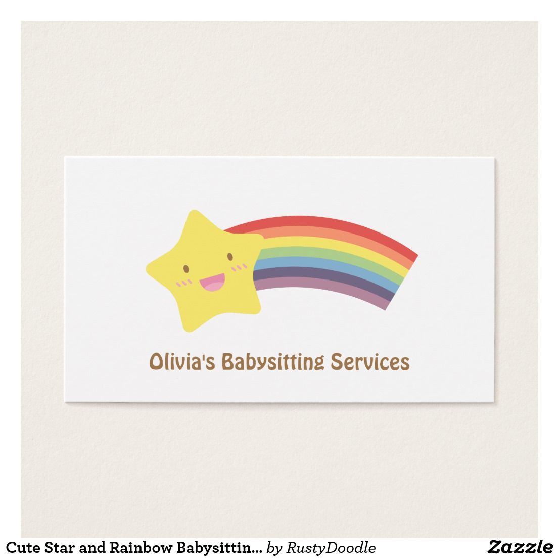 Cute Star and Rainbow Babysitting Business Cards ****** FIND UNDER ...