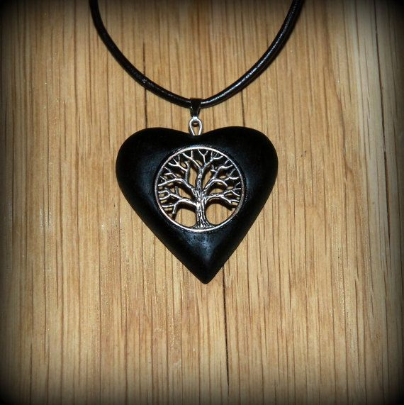 Ebony wooden black heart pendant of Tree of life. by LigerACME