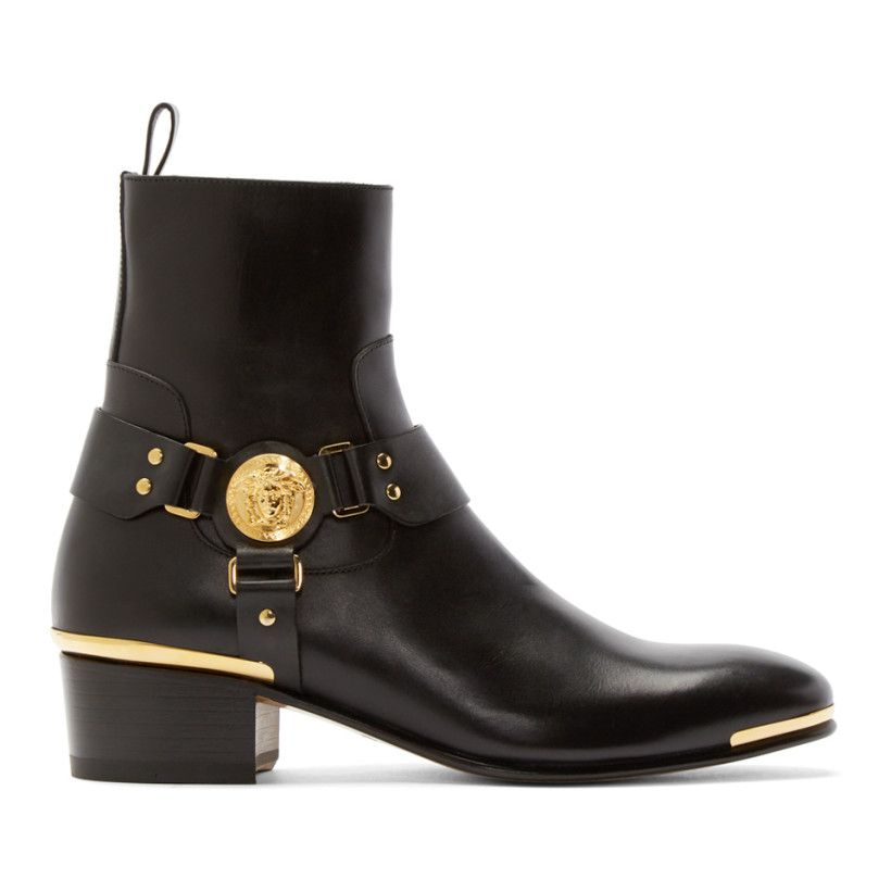 Versace Collection Mens Black YECJ148MKXU Brushed Calf Lace Up with Stud Toe