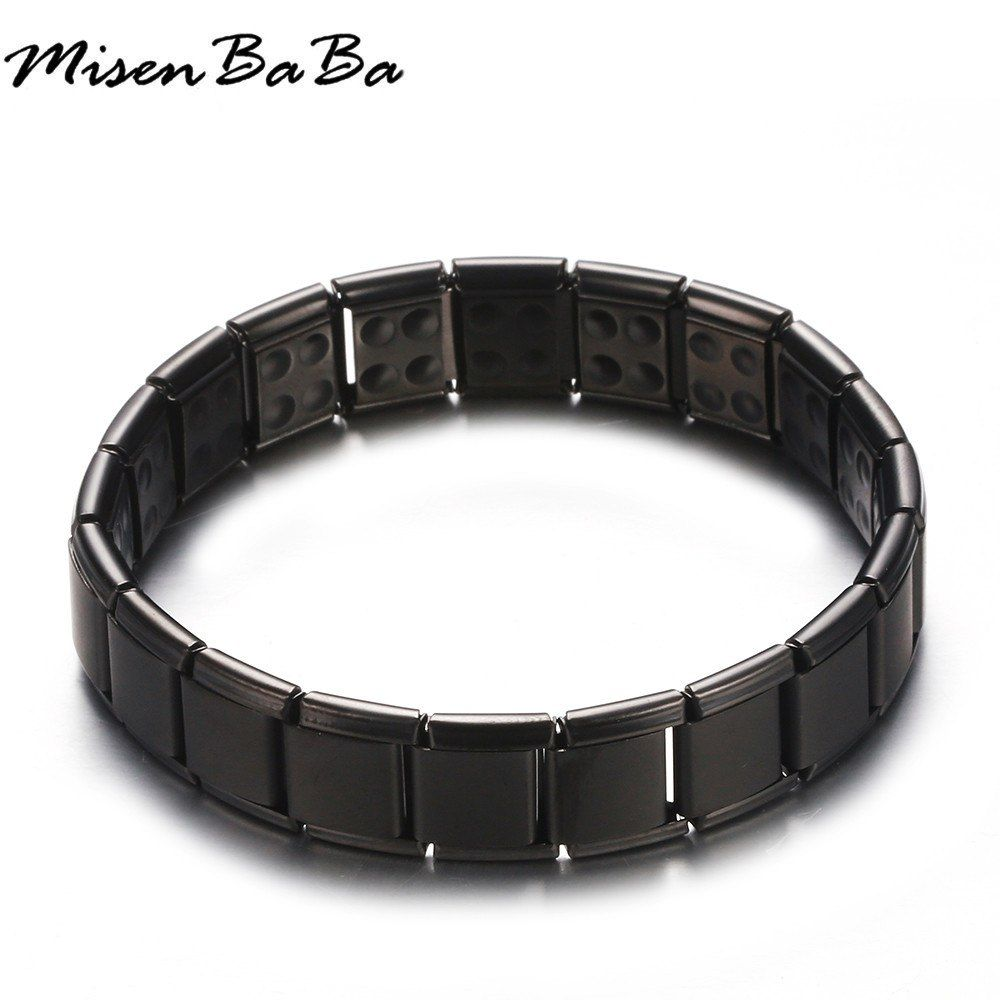25100e5017c3a New Stainless Steel Black Rose Gold Silver Color Germanium Magnetic Chain  Link Bracelet for Women Men Health Energy Jewelry