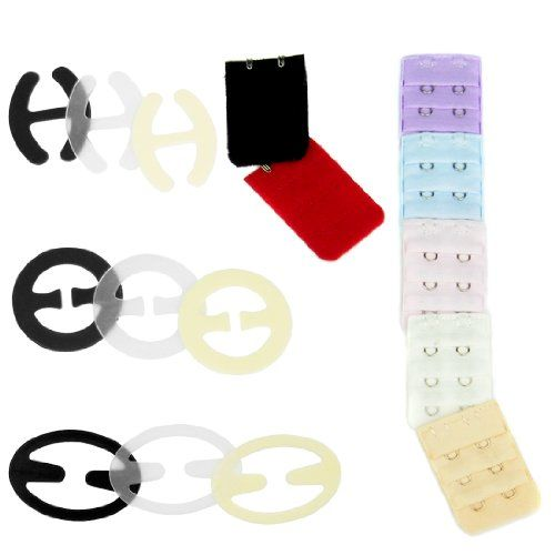 4d8acea615 kilofly Bra Racer Back Clips Set of 9 Black Clear Beige 7 Bra Extender 3  Rows x 2 Hooks     Details can be found by clicking on the image.