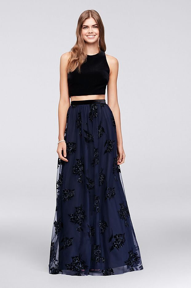 0b2739939bcc Strappy Velvet Top and Tulle Skirt Set | David's Bridal | Navy prom dress,  black prom dress, two piece prom dress, velvet prom dress