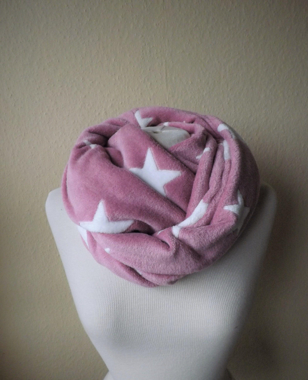 Damen Winter Kuschel Schal Schlauchschal Wellnessfleece Sterne Rosa Altrosa Weiss