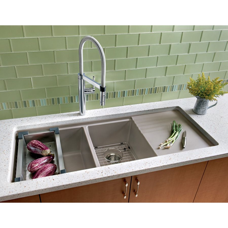 Shop Blanco Precis Double Basin Undermount Granite Kitchen Sink At