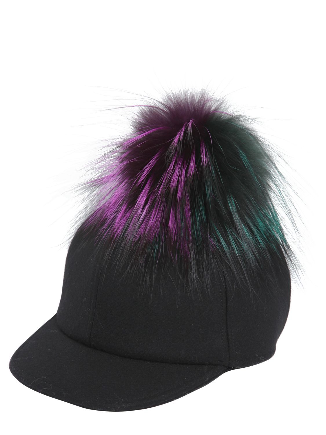 723994c7271 FENDI - WOOL FELT BASEBALL HAT WITH FUR POMPOM